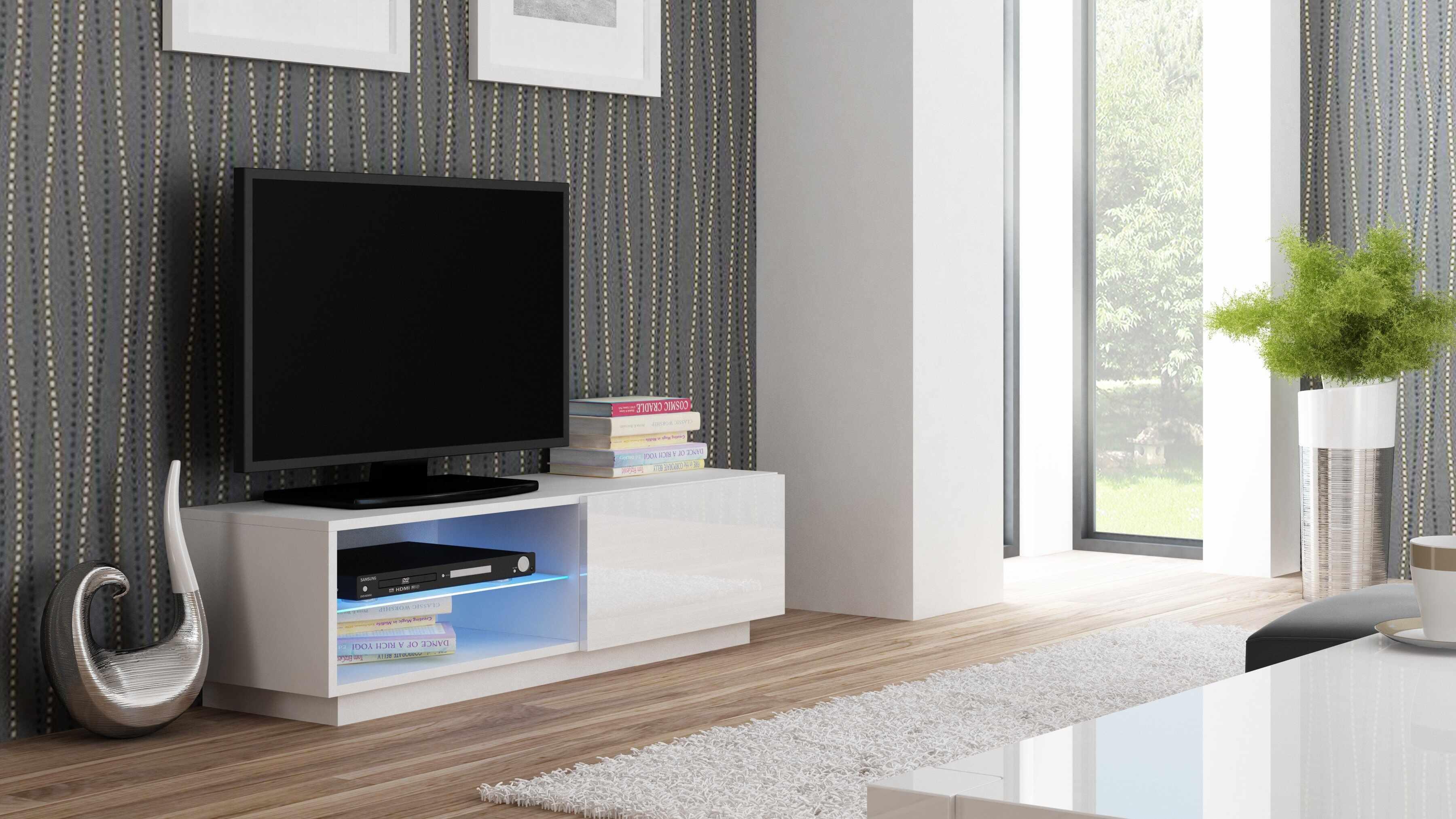 Comoda TV din MDF Livo RTV-120S White, l120xA40xH38 cm la pret 428 lei