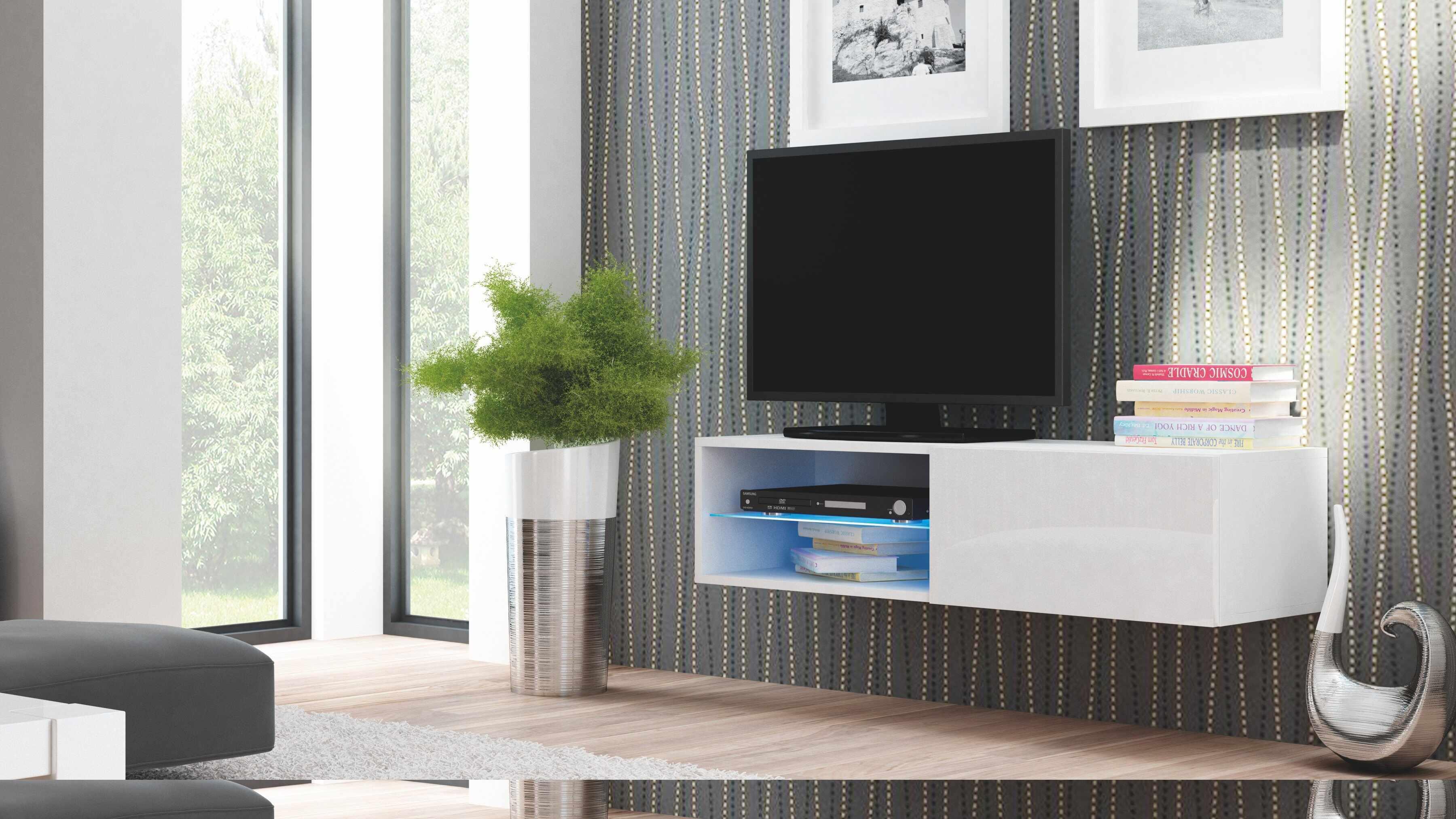 Comoda TV din MDF Livo RTV-120W White, l120xA40xH30 cm la pret 368 lei