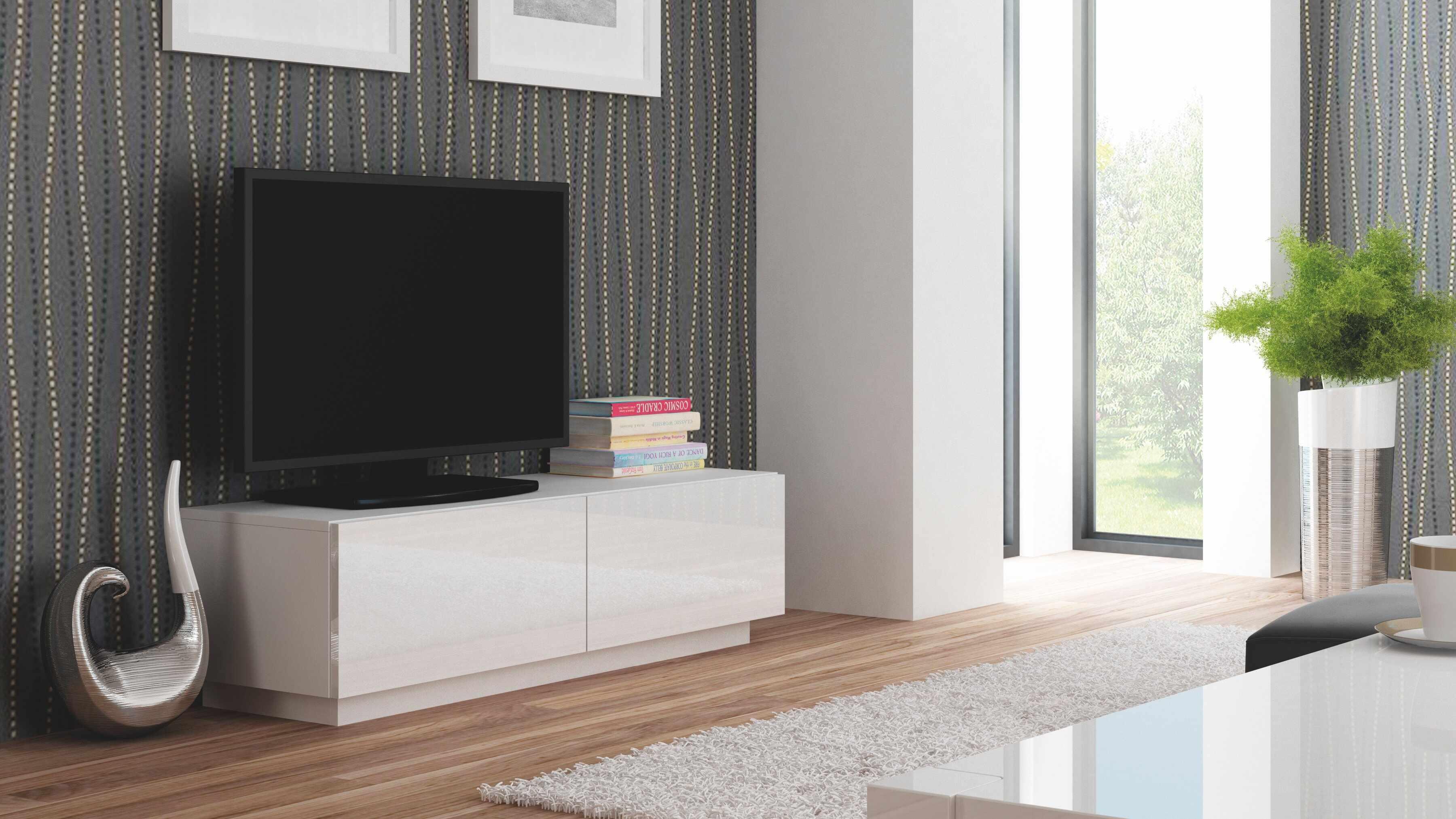 Comoda TV din MDF Livo RTV-160S White, l160xA40xH38 cm la pret 535 lei