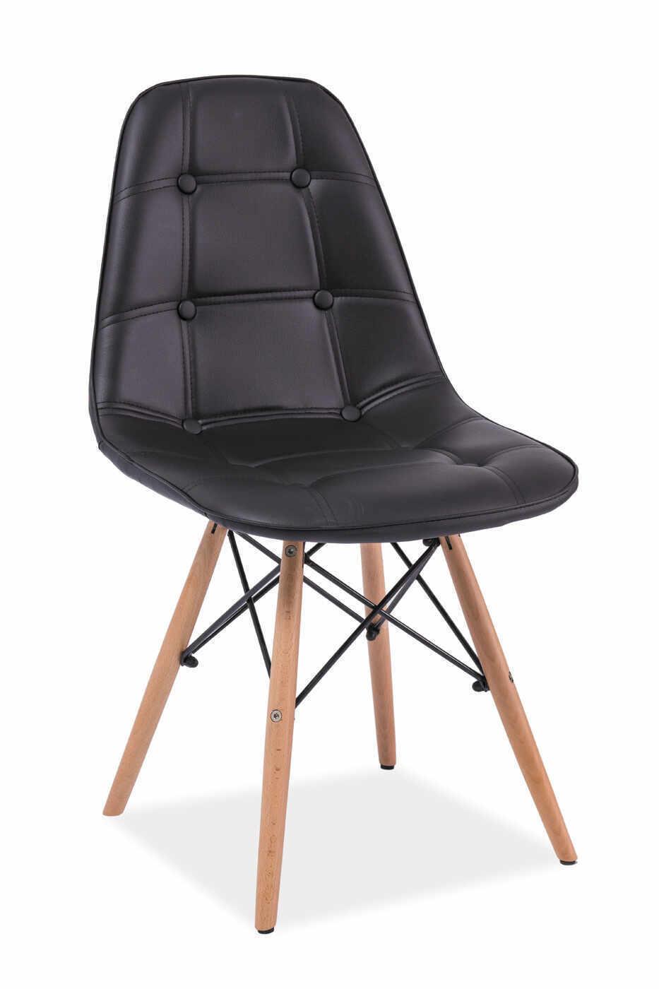 Scaun tapitat cu piele ecologica, cu picioare din lemn Axel Black, l45xA41xH88 cm la pret 178 lei