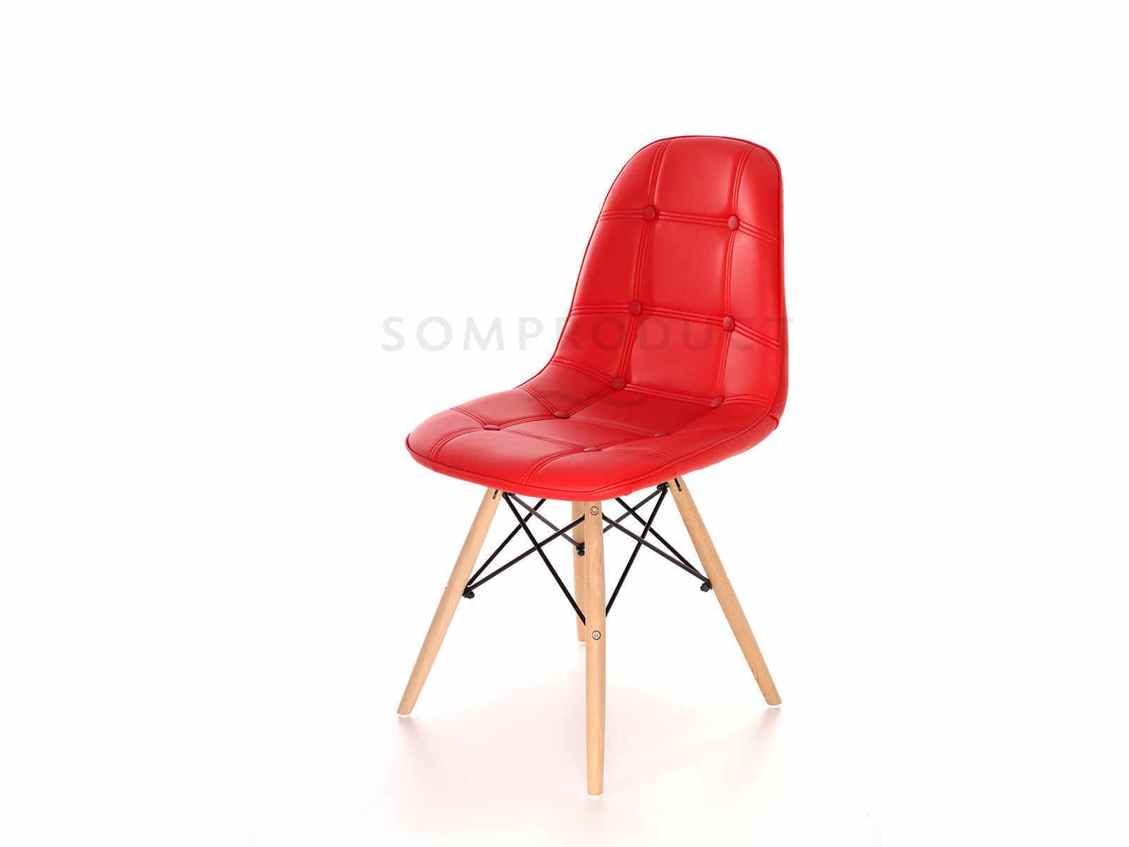 Scaun tapitat cu piele ecologica si picioare de lemn Iars Red, l41xA36xH83 cm la pret 161 lei