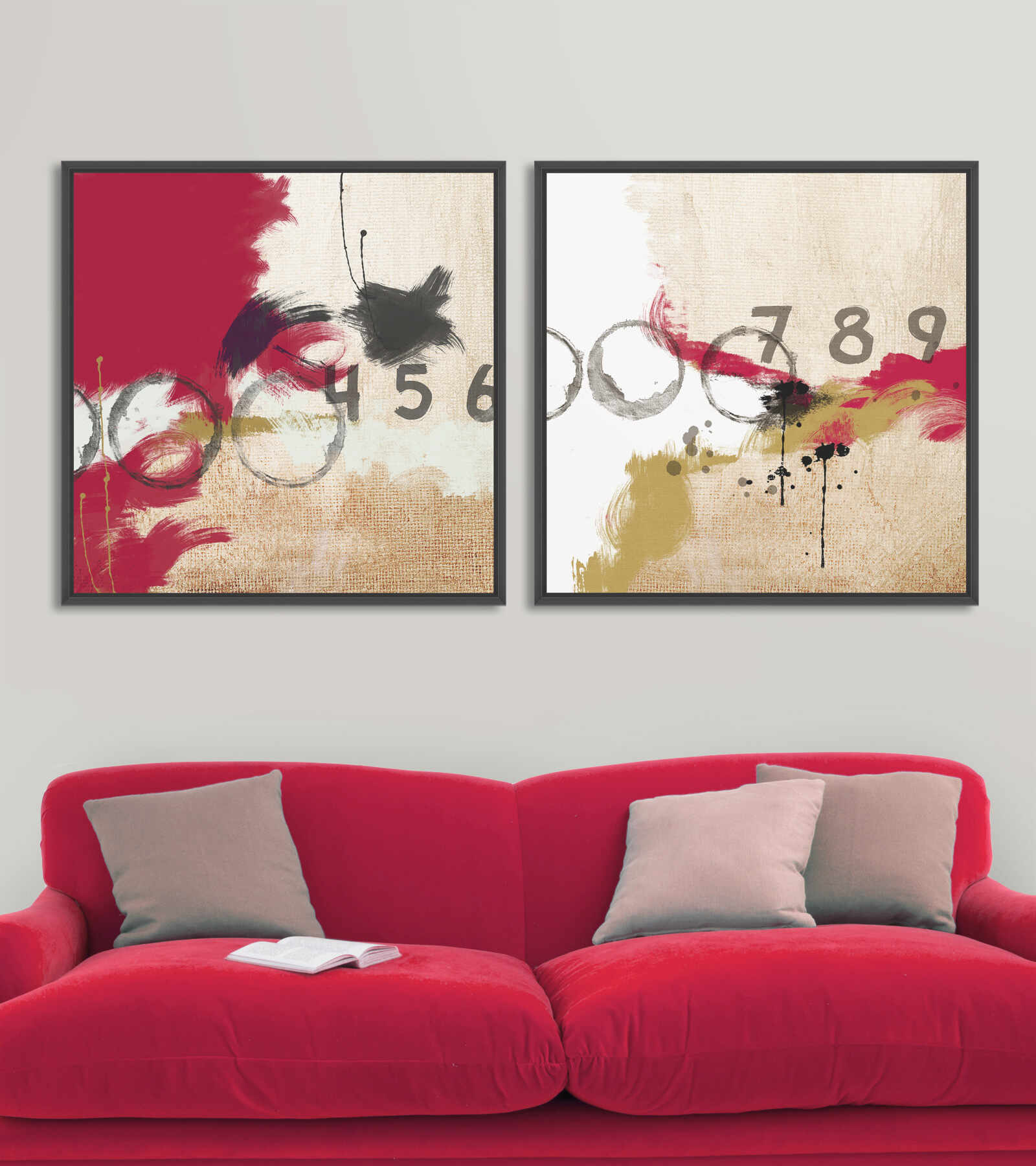 Tablou 2 piese Canvas Abstract Numbers la pret 883 lei