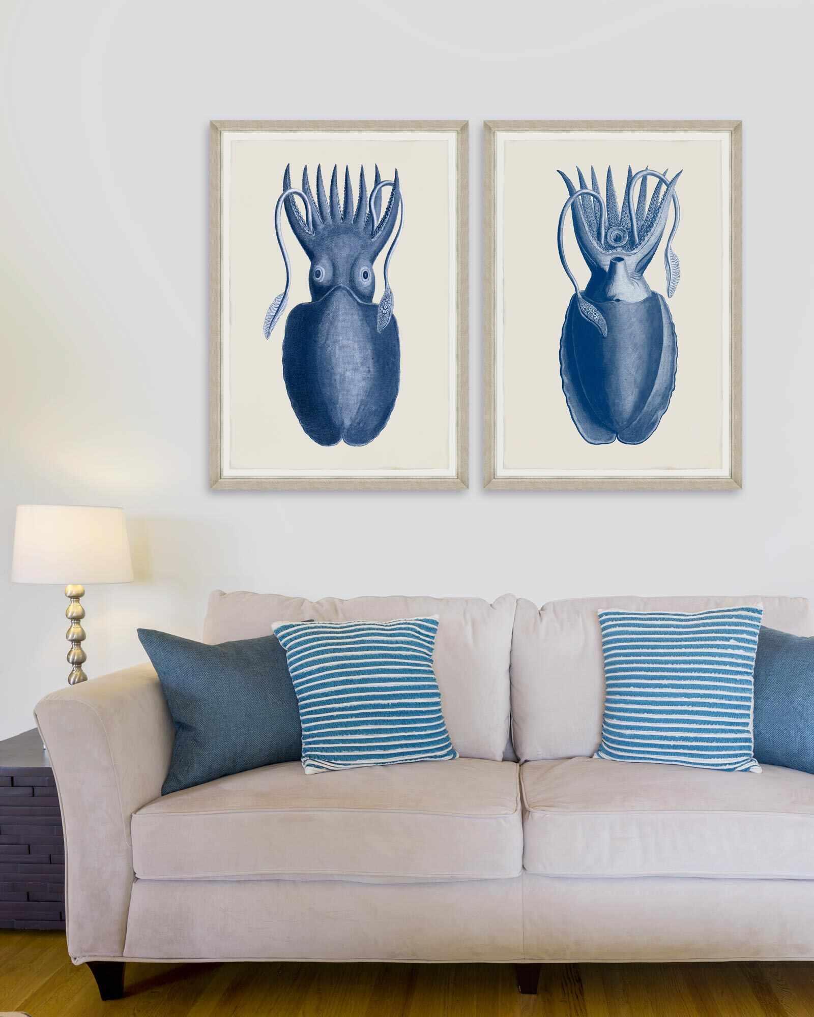 Tablou 2 piese Framed Art Cuttlefish On Blue la pret 724 lei