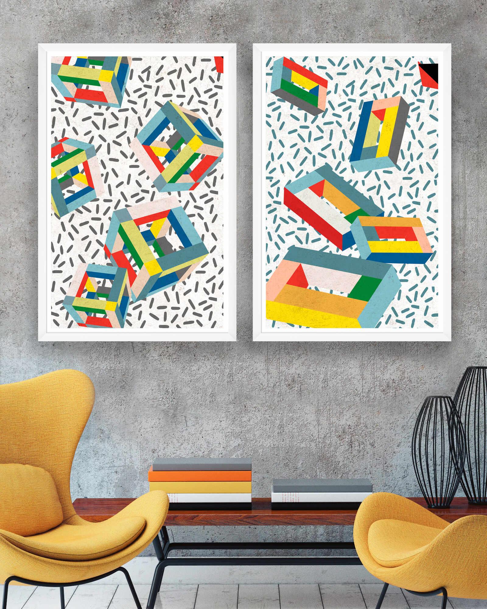 Tablou 2 piese Framed Art Memphis Cubes la pret 929 lei