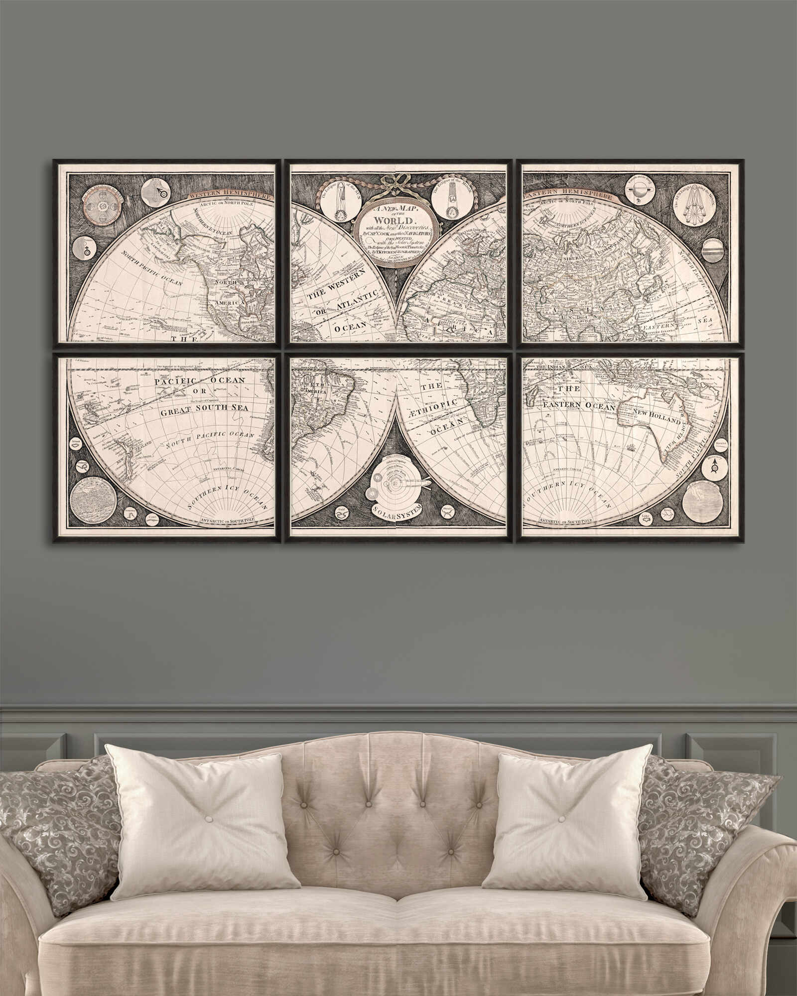 Tablou 6 piese Framed Art A New Map Of The World la pret 1455 lei