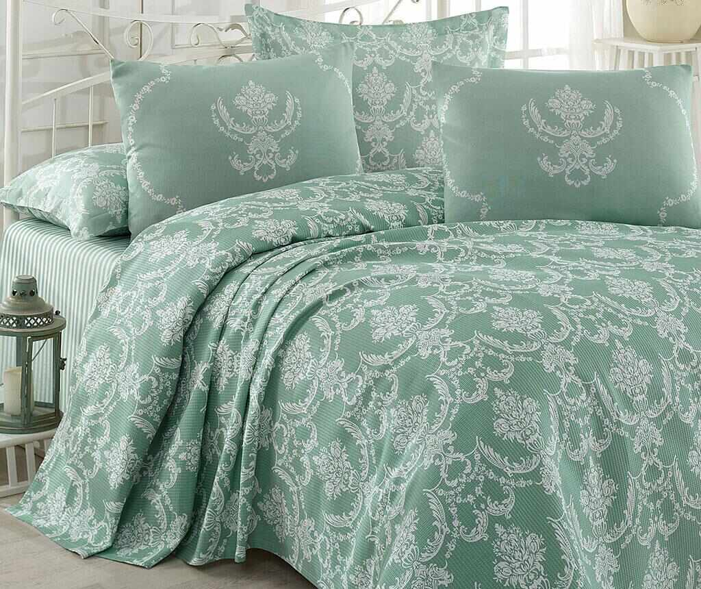 Lenjerie de pat Double Pique Pure Water Green 200x235 la pret 129.99 lei