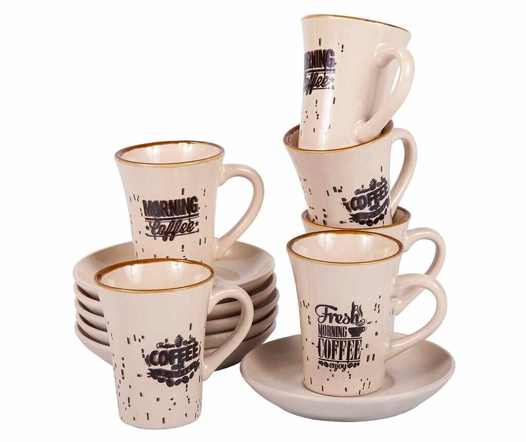 Set 6 cesti si 6 farfurioare Morning Coffee Tall la pret 69.99 lei
