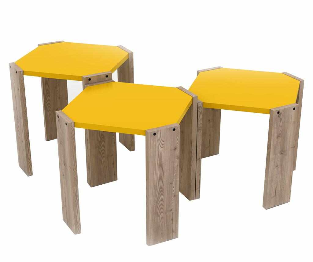 Set 3 masute Rafevi Hansel Oak Yellow la pret 209.99 lei