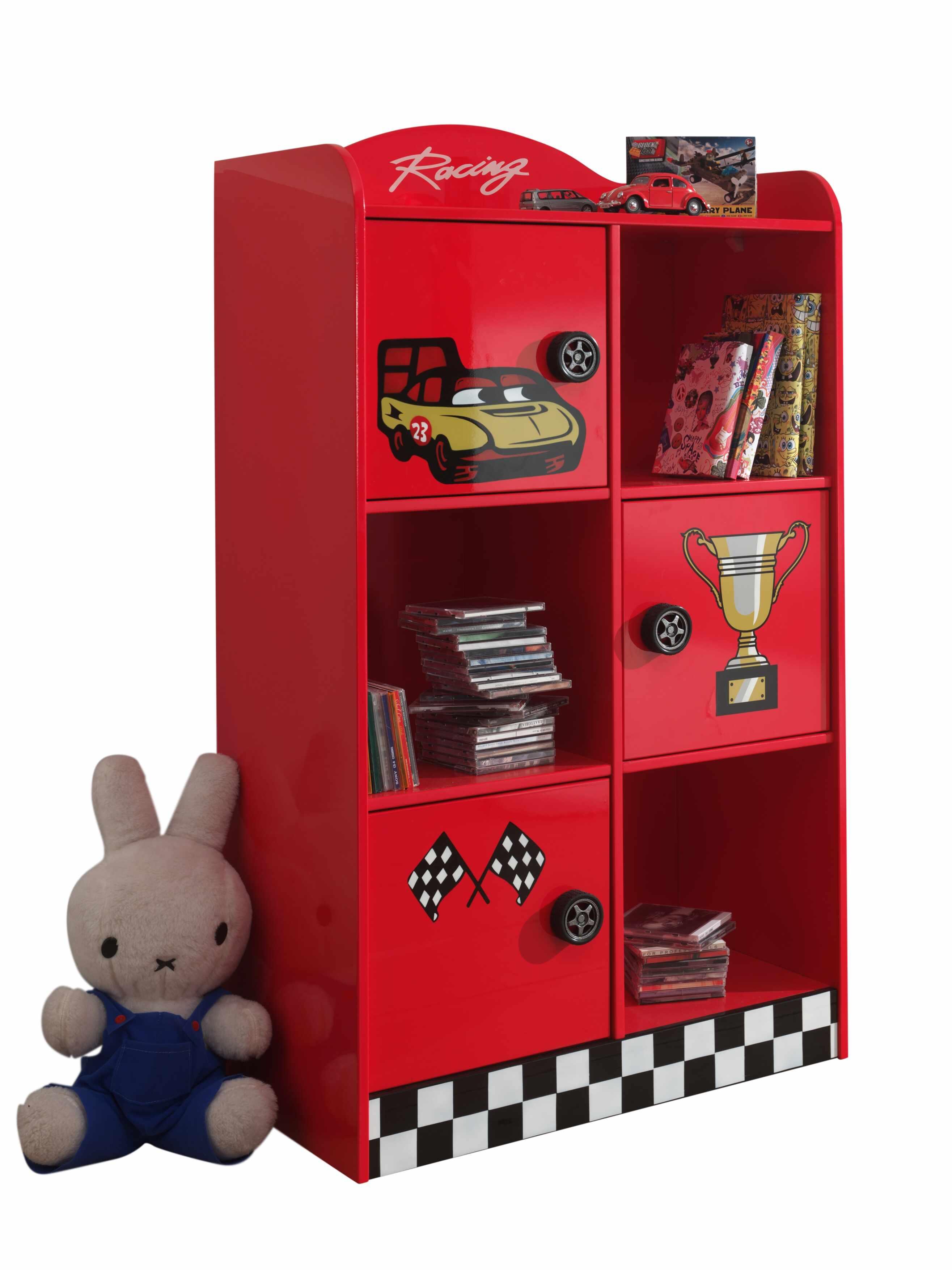 Biblioteca din MDF cu 3 usi, pentru copii Le Mans Rosu, l76xA42xH133,5 cm la pret 1415 lei
