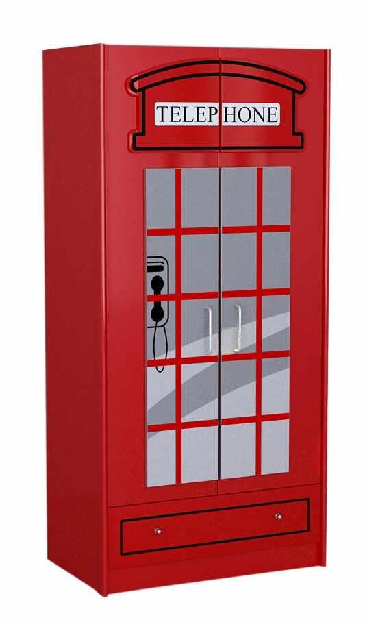 Dulap din MDF cu 2 usi si 1 sertar, pentru copii London Rosu, l90xA56,8xH190 cm la pret 2341 lei