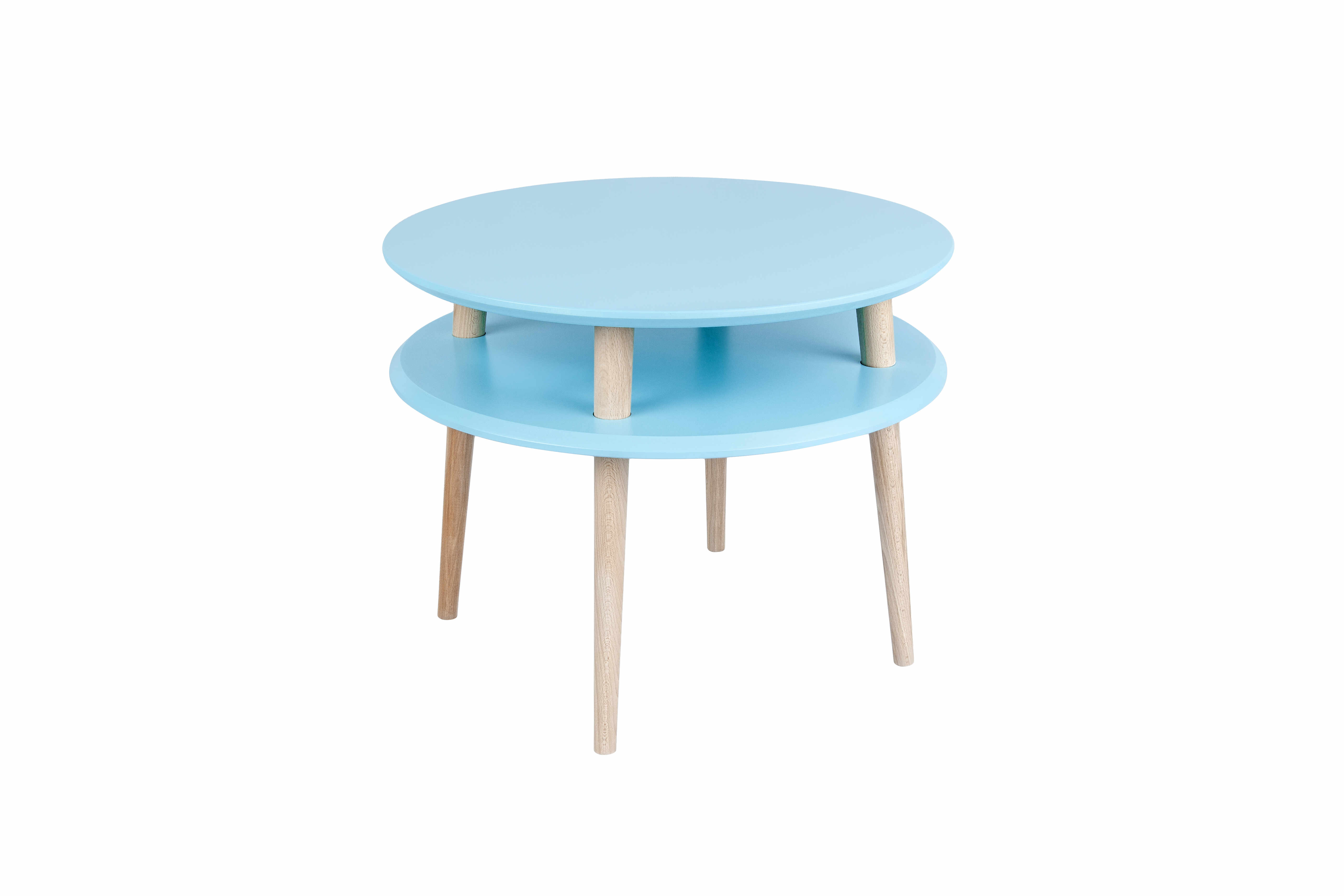 Masa de cafea din lemn de fag si MDF Ufo Medium Dark Turquoise / Beech, Ø57xH45 cm la pret 647 lei