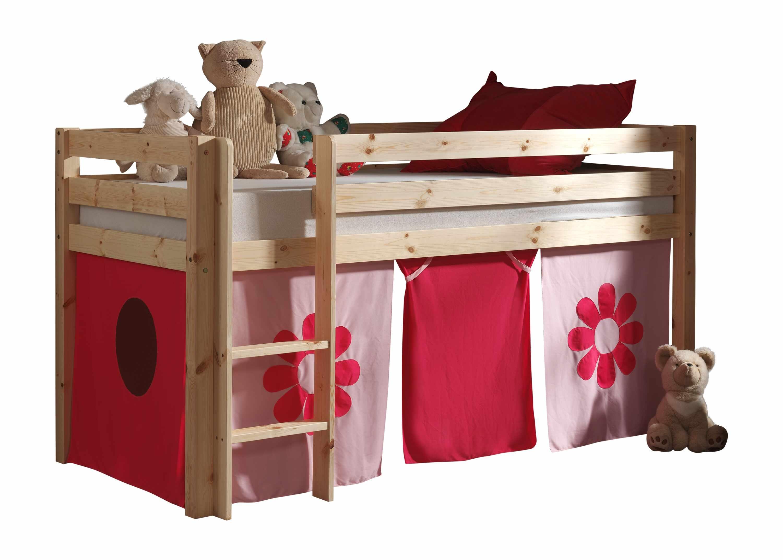 Pat etajat din lemn de pin, cu spatiu de joaca pentru copii Pino Pink Flower Natural, 200 x 90 cm la pret 1509 lei