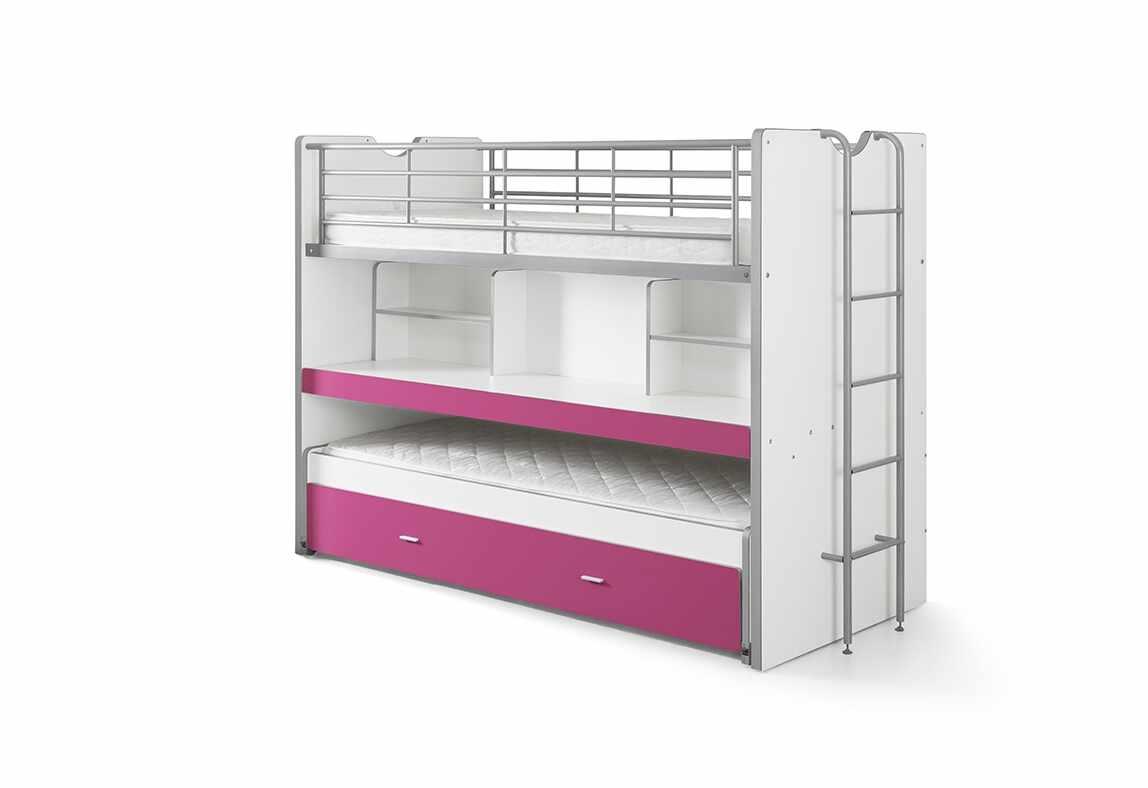 Pat etajat din pal si metal cu birou incorporat si sertar, pentru copii Bonny Alb / Fucsia, 200 x 90 cm la pret 5587 lei