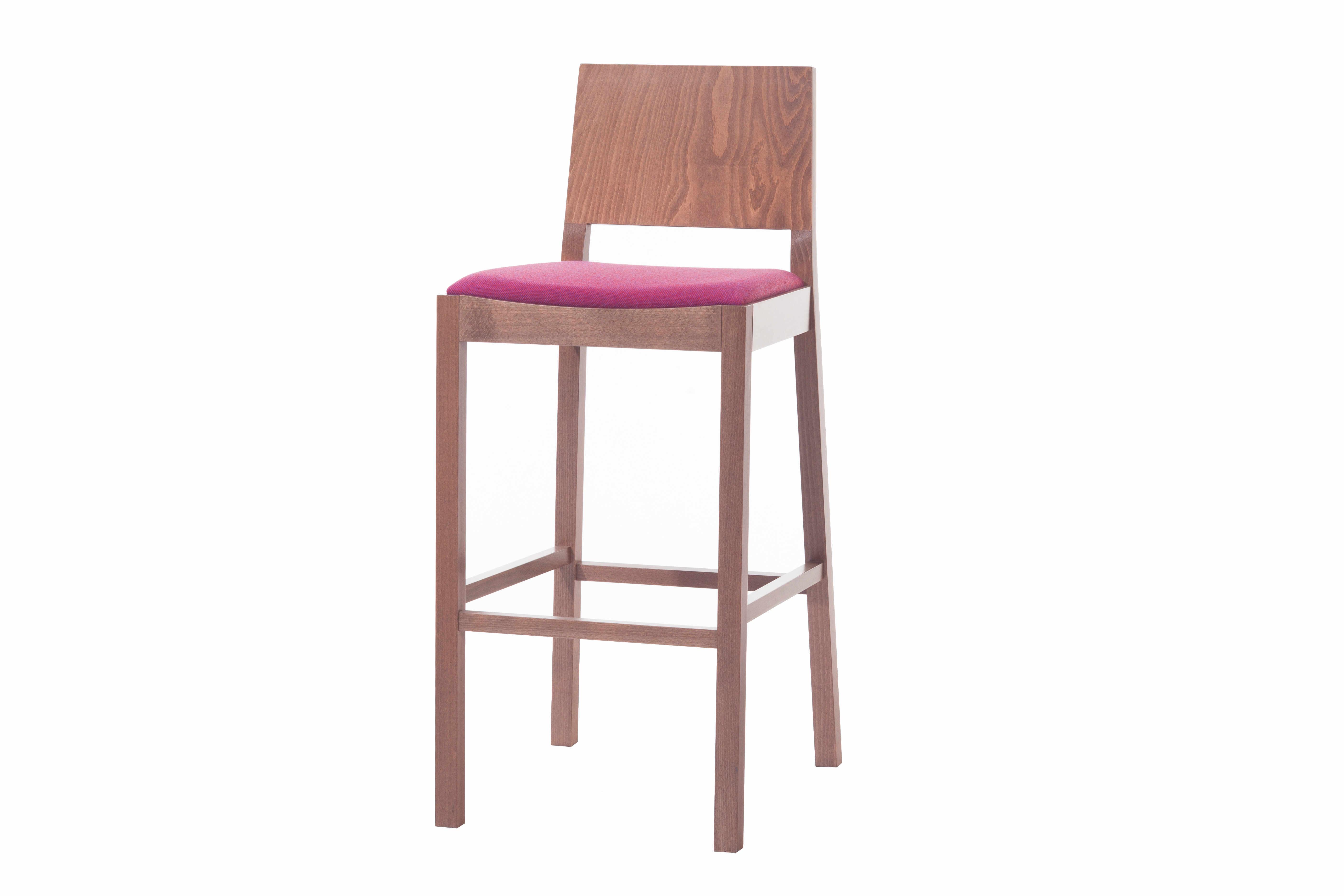 Scaun de bar din lemn de fag, tapitat cu stofa Lyon Walnut / Pink 515, l44xA53xH102 cm la pret 2279 lei
