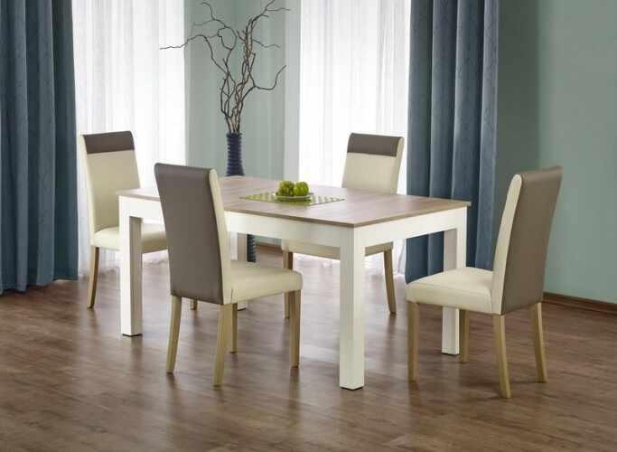 Set masa extensibila din pal si MDF Sewer White / Oak + 4 scaune Norbert Cream, L160-300xl90xH76 cm la pret 2126 lei