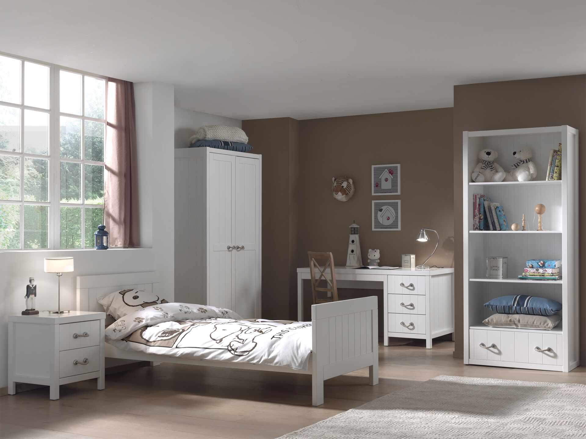 Set Mobila dormitor din lemn de pin si MDF, pentru copii 5 piese Lewis Alb, 200 x 90 cm la pret 11549 lei