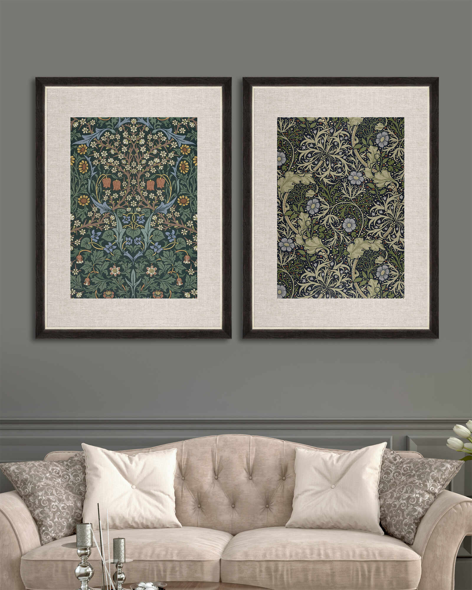 Tablou 2 piese Framed Linen Chinese Floral I & II la pret 1072.17 lei