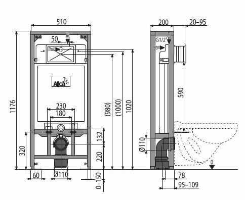 Rezervor WC ingropat Alcaplast Solomodul destinat instalarii uscate sustinere proprie inaltime de instalare 1.2 m la pret 1188.41 lei