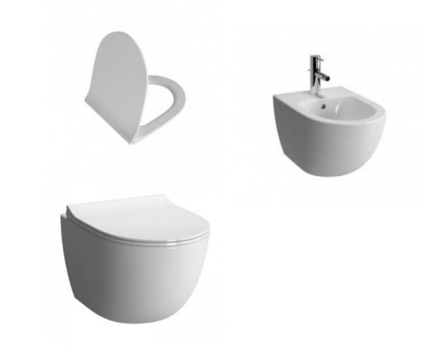 Set vas de toaleta suspendat Vitra Sento cu capac slim softclose si bideu suspendat la pret 2399 lei