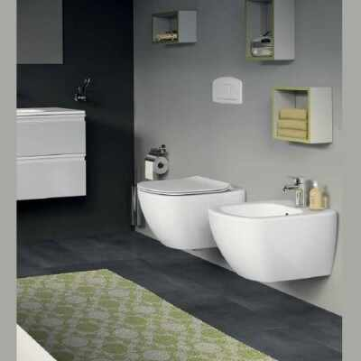 Set vas wc cu capac softclose si bideu suspendat Ideal Standard Tesi Aquablade