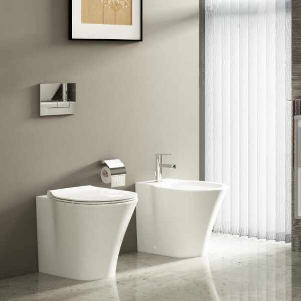 Set vas wc pe pardoseala btw cu capac softclose slim si bideu Ideal Standard Connect Air Aquablade la pret 1879 lei
