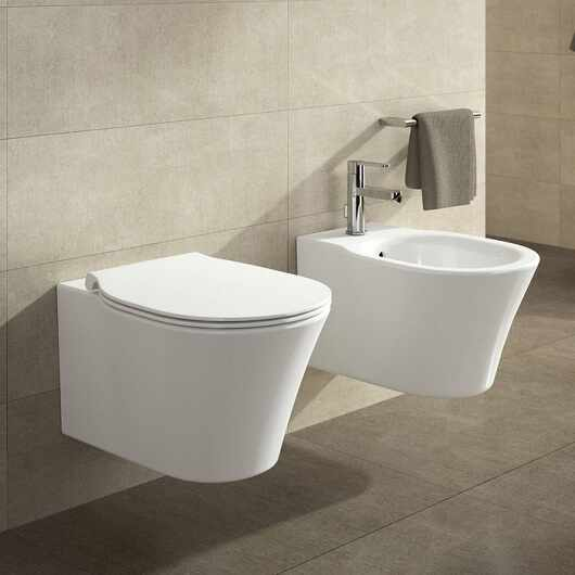 Set vas wc suspendat cu capac softclose si bideu suspendat Ideal Standard Connect Air Aquablade la pret 1999 lei