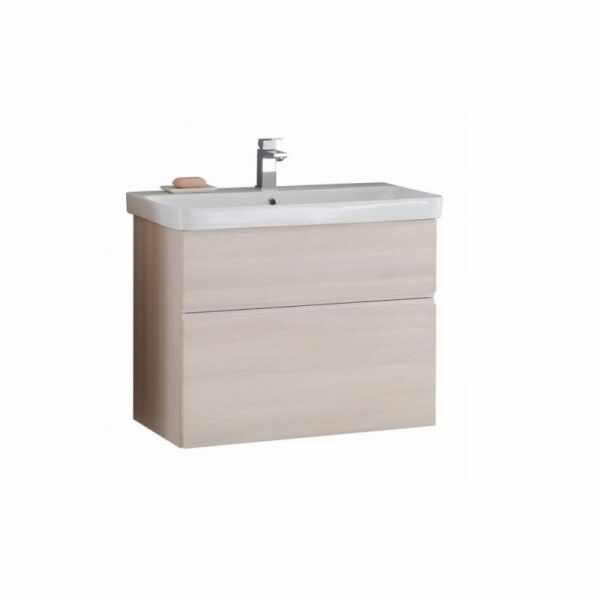 Set lavoar alb mobilier cu sertare salcam deschis KolpaSan Oxana 80 cm la pret 2100 lei