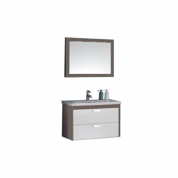 Set lavoar mobilier cu sertare oglinda KolpaSan Sara 82 cm la pret 1542 lei