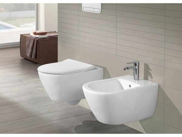 Set vas wc cu bideu suspendat VilleroyBoch Subway 2.0 si capac slim soft close la pret 3549 lei