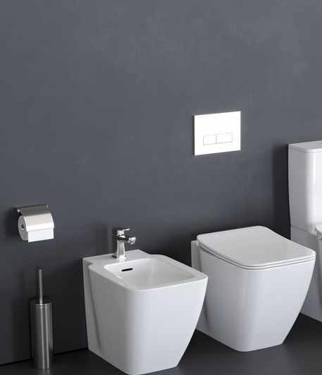 Set vas wc pe pardoseala bideu pe pardoseala si capac slim soft close Ideal Standard Strada II AquaBlade BackToWall la pret 2475 lei