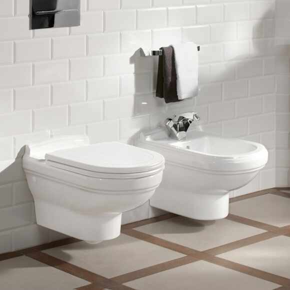 Set Vas wc si bideu suspendat VilleroyBoch Hommage cu capac soft close