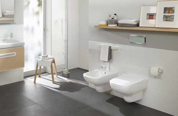Set vas wc si bideu suspendat VilleroyBoch Joyce Direct Flush cu capac slim soft close la pret 4499 lei