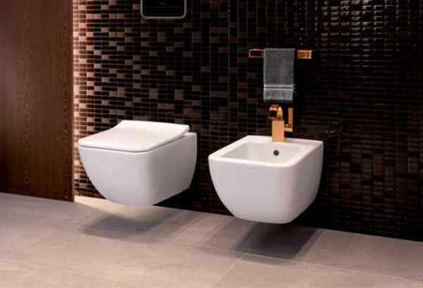 Set vas wc si bideu suspendat VilleroyBoch Venticello Direct Flush cu capac slim soft close