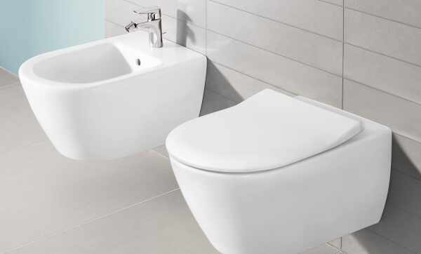 Set vas wc suspendat cu bideu suspendat si capac slim soft close VilleroyBoch Subway