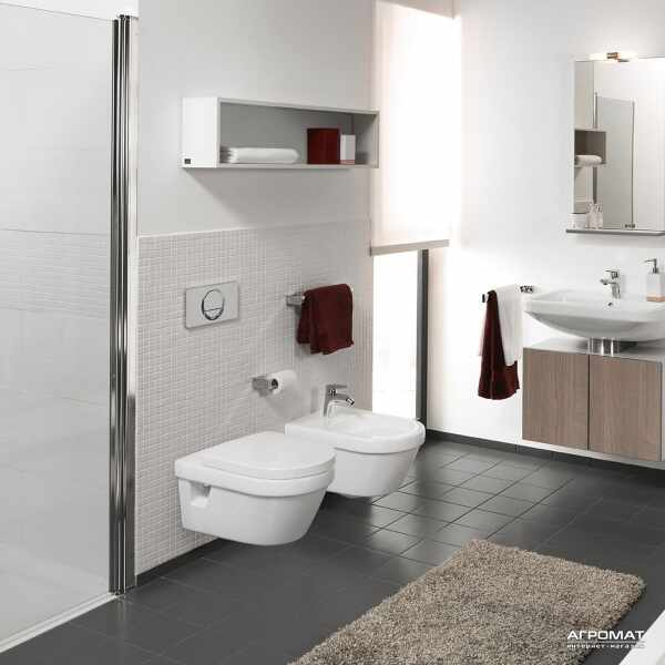 Set vas wc suspendat VilleroyBoch Architectura cu bideu suspendat si capac soft close