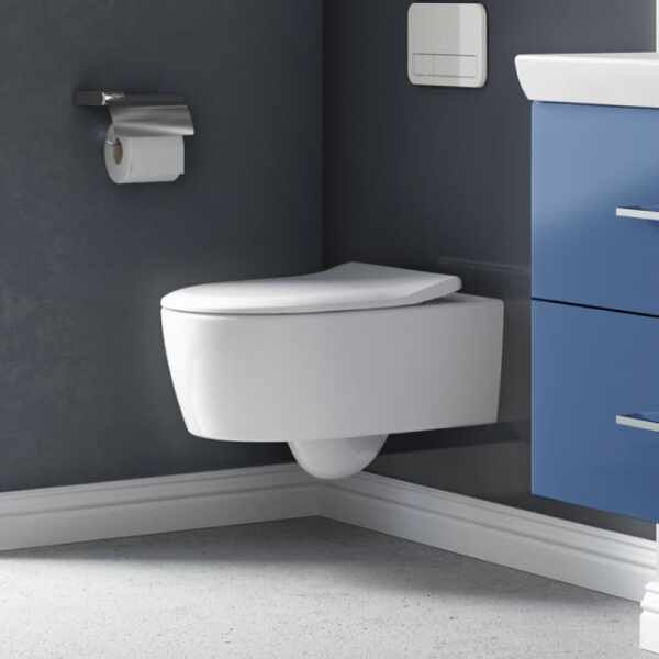 Set vas wc suspendat VilleroyBoch Avento Direct Flush cu capac slim soft close la pret 1839 lei