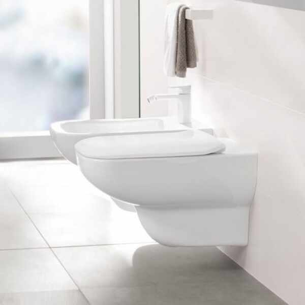 Set vas wc suspendat VilleroyBoch Joyce Direct Flush cu capac slim soft close la pret 2999 lei