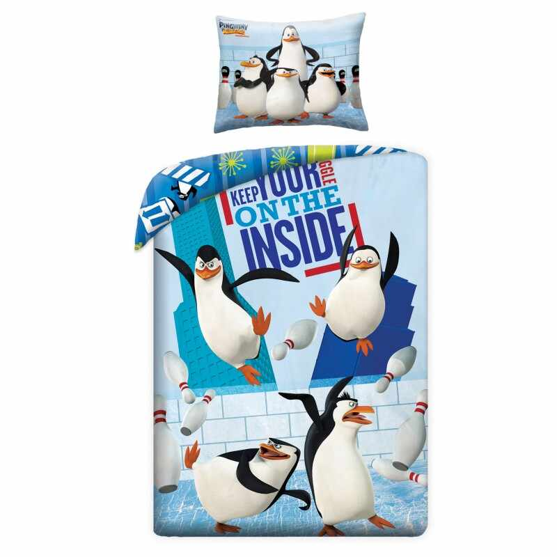 Lenjerie de pat copii Cotton Penguins of Madagascar P0050 la pret 123 lei