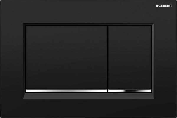 Clapeta de actionare Geberit Sigma 30 negru mat lacuit crom lucios EasyToClean la pret 534 lei