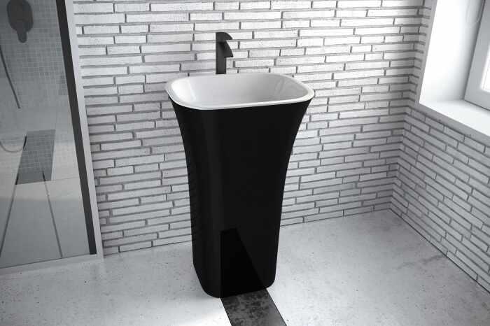 Lavoar pe pardoseala Besco Assos negru cu alb 50x40 cm la pret 3387 lei