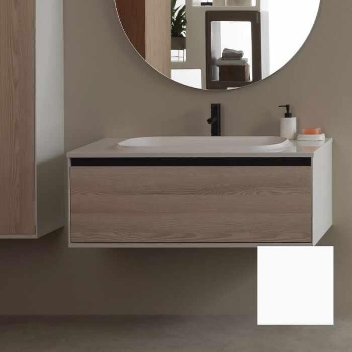 Set mobilier baza alb cu lavoar compozit KolpaSan Pandora 110 cm la pret 2452 lei