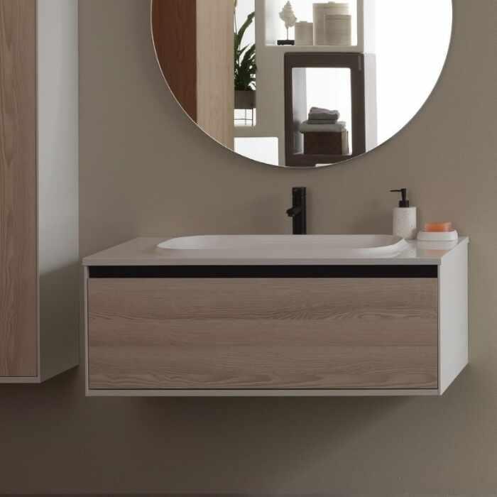 Set mobilier baza lemn natur cu lavoar compozit KolpaSan Pandora 110 cm la pret 2452 lei