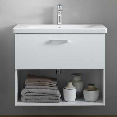 Set mobilier baza suspendat alb 1 sertar cu lavoar ceramic KolpaSan Evelin 80 cm la pret 1019 lei