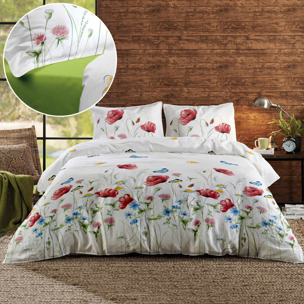 Lenjerie de pat 2 persoane Renforce renforce-magnolia-butterfly-v2-butterum la pret 184 lei