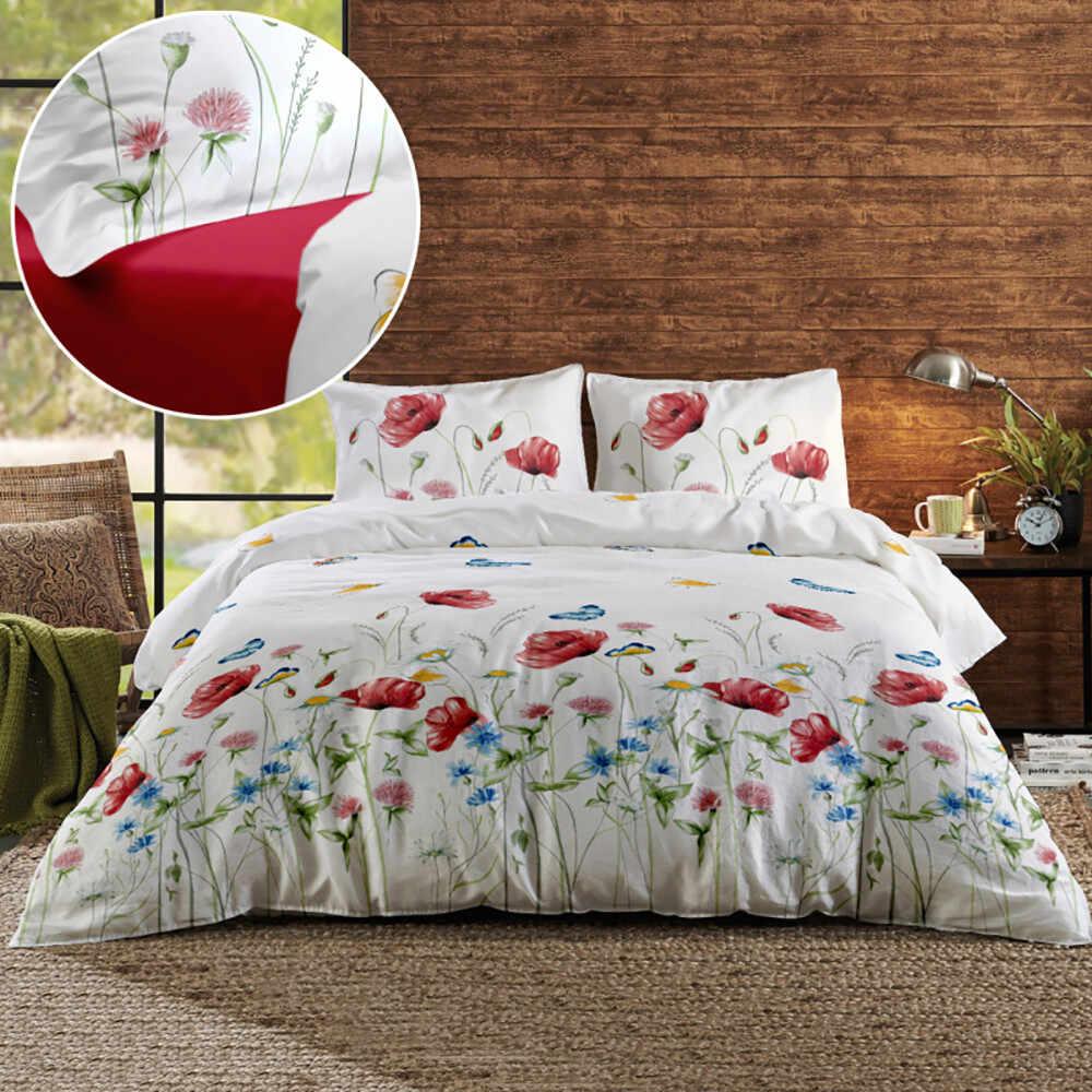 Set pat matrimonial bumbac Renforce 220x200 renforce-magnolia-butterfly-v1-fuchsia-red la pret 309 lei