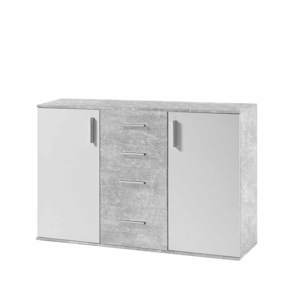 Comoda alb/beton GL POPPY 5 la pret 727.95 lei