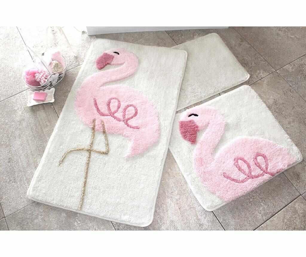 Set 3 covorase de baie Pink Flamingos la pret 189.99 lei