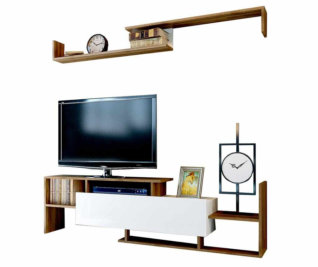 Set comoda TV si raft de perete Dream Walnut la pret 339.99 lei