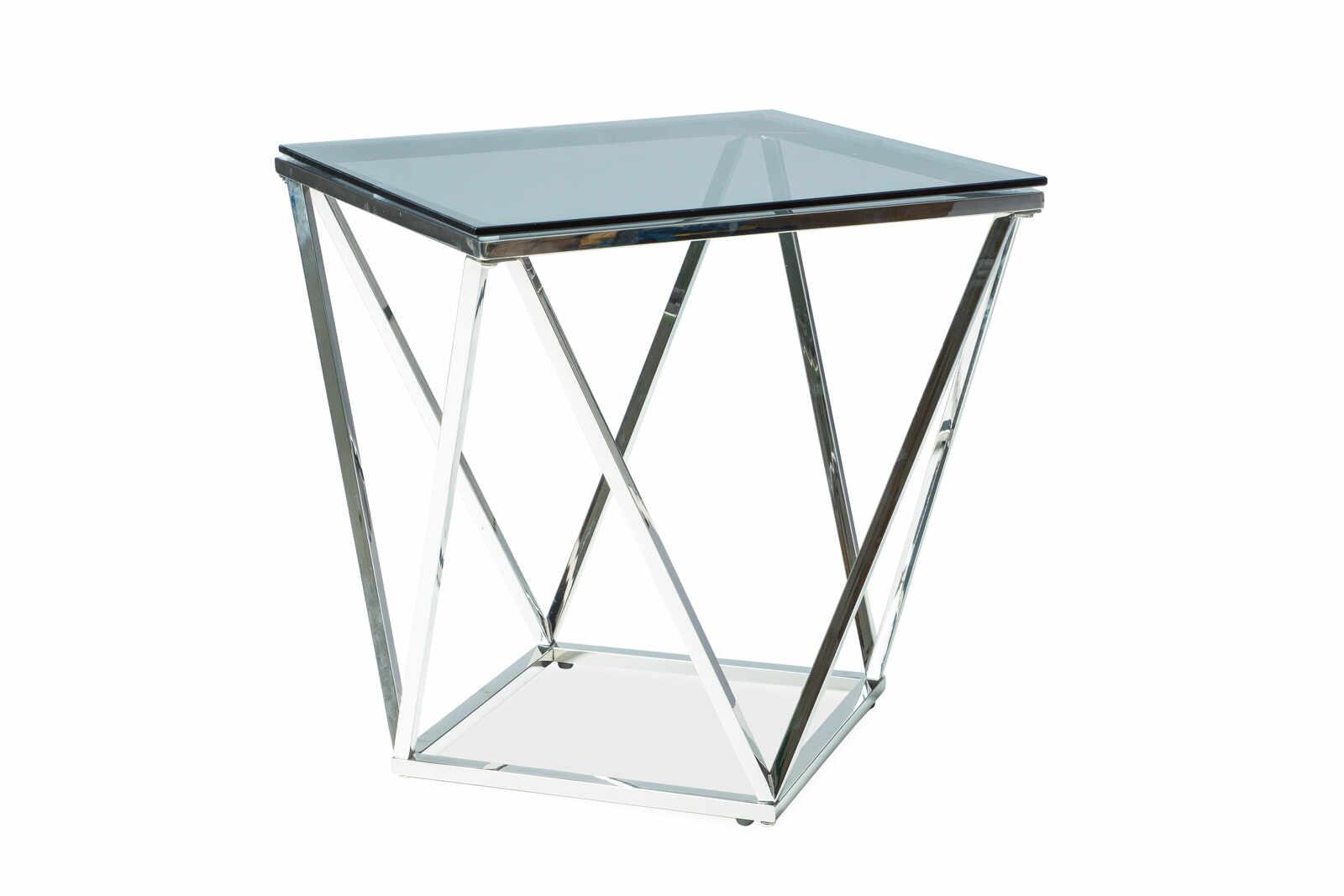 Masa de cafea din sticla Silver B, L50xl50xh53 cm la pret 520 lei