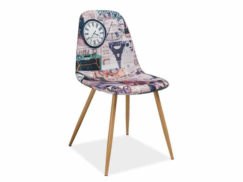 Scaun tapitat cu stofa, cu picioare metalice Citi Paris Multicolour / Oak, l44xA38xH84 cm la pret 234 lei